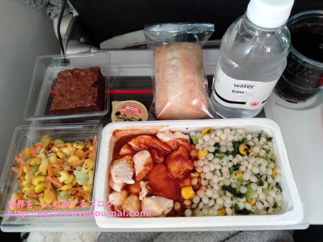 エアカナダのエコノミークラス機内食復路1回目