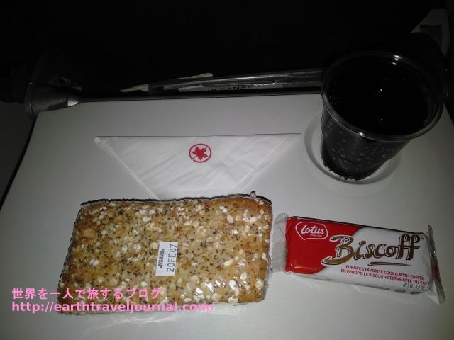 エアカナダのエコノミークラス機内食復路2回目